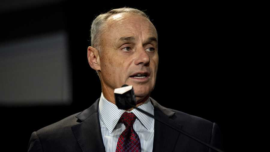 Major League Baseball Commissioner Rob Manfred speaks during the 2019 Major League Baseball Winter Meetings on December 10, 2019 in San Diego, California.
