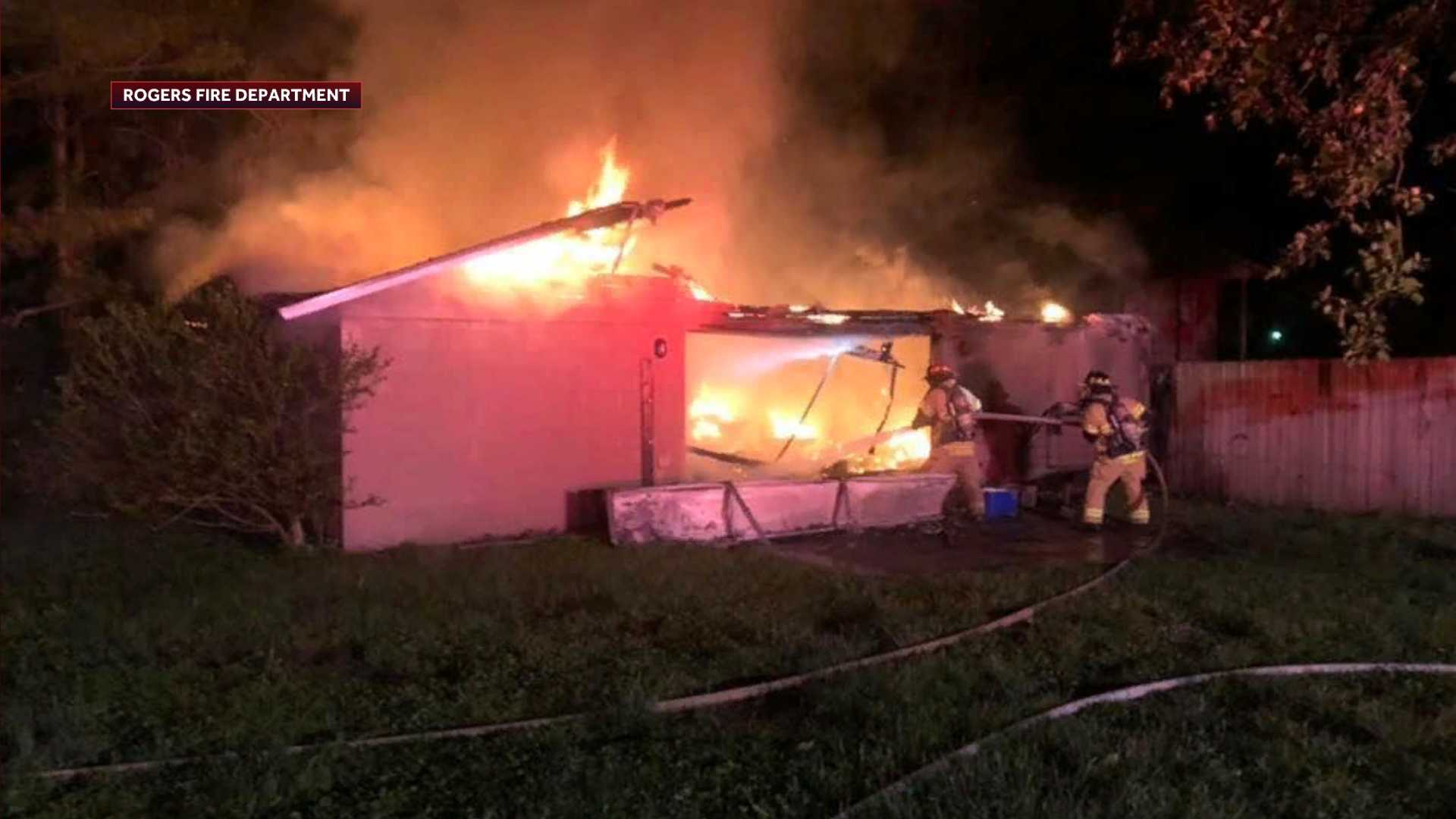 Roger garage catches fire overnight thumbnail