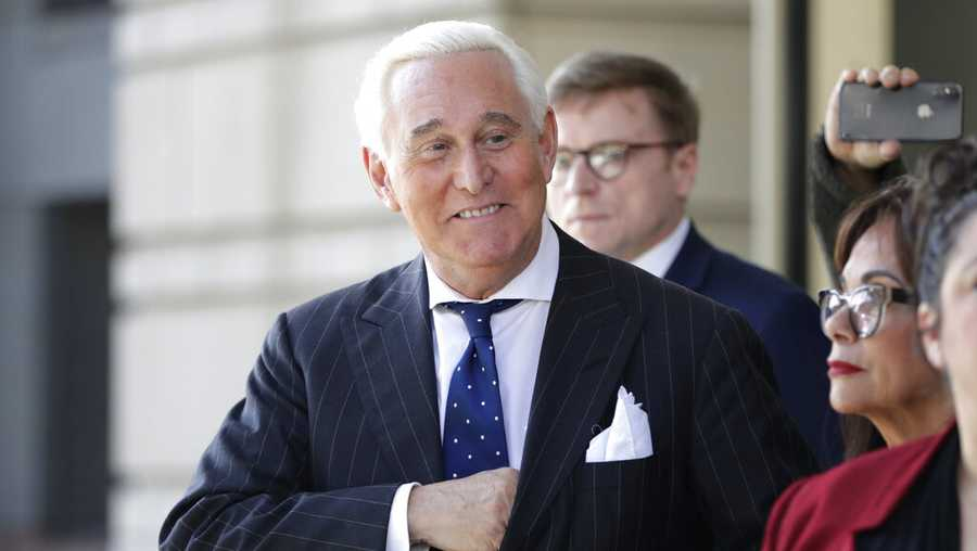 In this Nov. 15, 2019, file photo Roger Stone exits federal court in Washington.