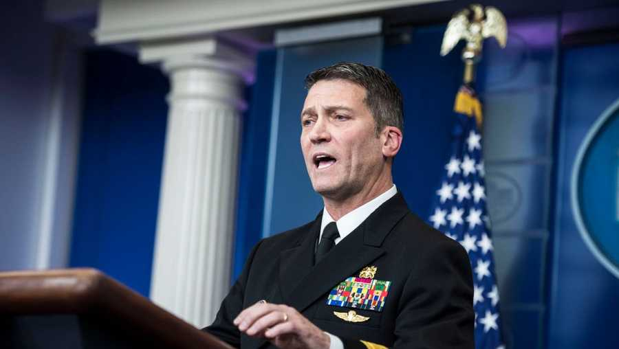 White House physician Dr. Ronny Jackson speaks to reporters during the daily briefing in the Brady press briefing room at the White House in Washington, DC on Tuesday, Jan. 16, 2018.
