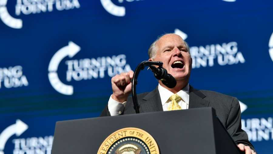 Rush Limbaugh speaks before President Donald Trump takes the stage during the Turning Point USA Student Action Summit at the Palm Beach County Convention Center in West Palm Beach, Florida on December 21, 2019.