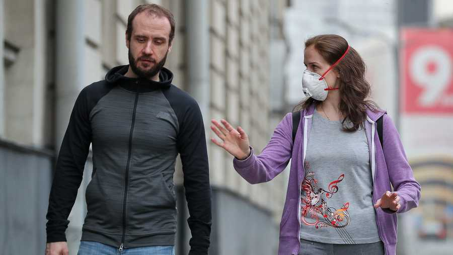 People walking in central Moscow during the ongoing COVID-19 coronavirus pandemic. Russian President Vladimir Putin expanded non-working period till May 11, 2020 to prevent the spread of the coronavirus infection.