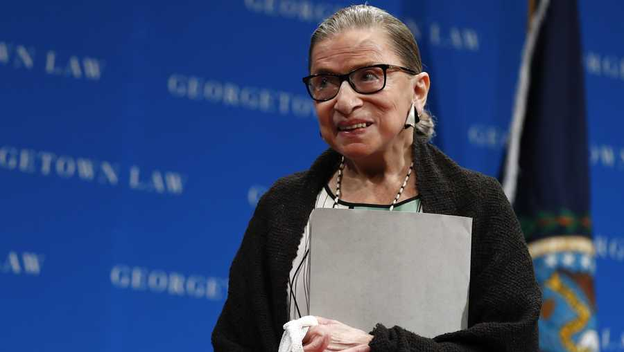 U.S. Supreme Court Justice Ruth Bader Ginsburg stands after speaking at the Georgetown University Law Center campus in Washington, Wednesday, Sept. 20, 2017.