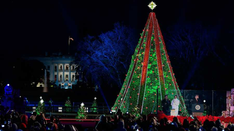 President Donald Trump and first lady Melania Trump light the National Christmas Tree on the Ellipse near the White House in Washington, Wednesday, Nov. 28, 2018.