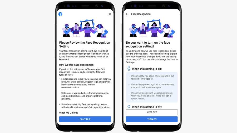 Facebook is now offering facial-recognition features to all of its users, but says it will keep the capabilities turned off by default.