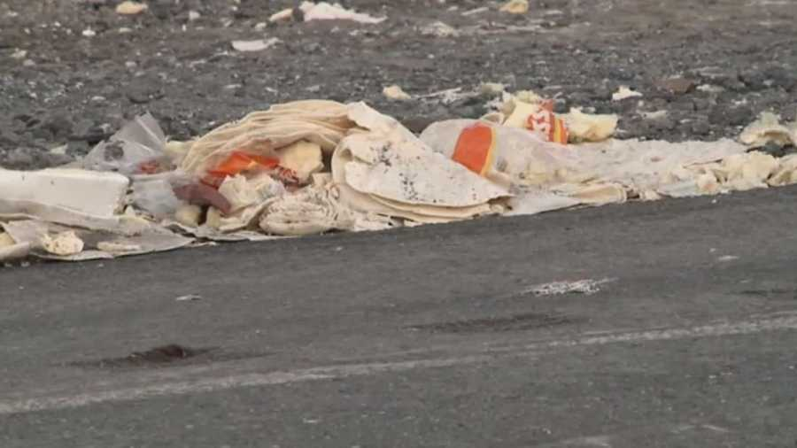 Thousands of tortillas littered a road after a crash involving two tractor-trailers and a car in Pennsylvania.