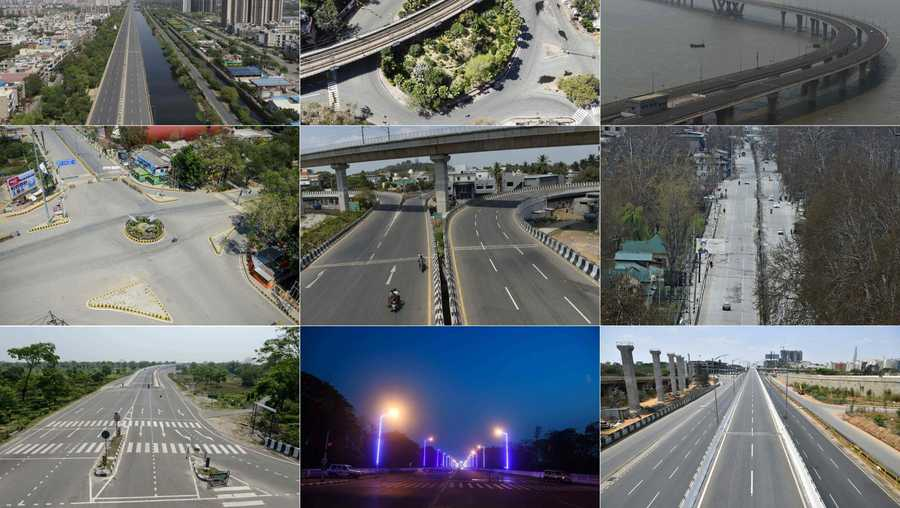 These pictures taken on March 25 show deserted streets across India. The top row, from left to right, shows Ghaziabad, New Delhi, Mumbai. The middle row, left to right, is Allahabad, Chennai, Kashmir. The bottom row, left to right, depicts Siliguri, Kolkata, and Bangalore