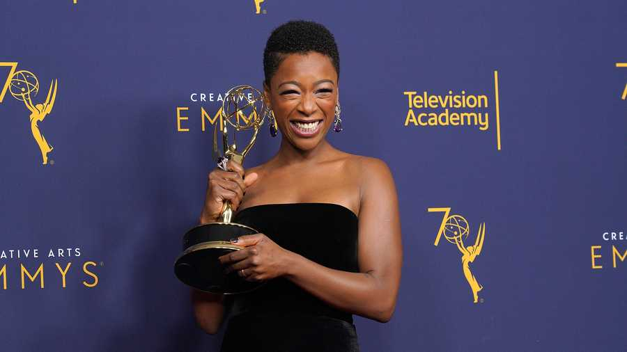 Samira Wiley poses in the press room during the 2018 Creative Arts Emmy Awards, day 1 at Microsoft Theater on September 8, 2018 in Los Angeles, California.