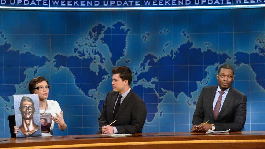 Kate McKinnon as Cecilia Giminez, Colin Jost, and Michael Che during Weekend Update on April 8, 2017.