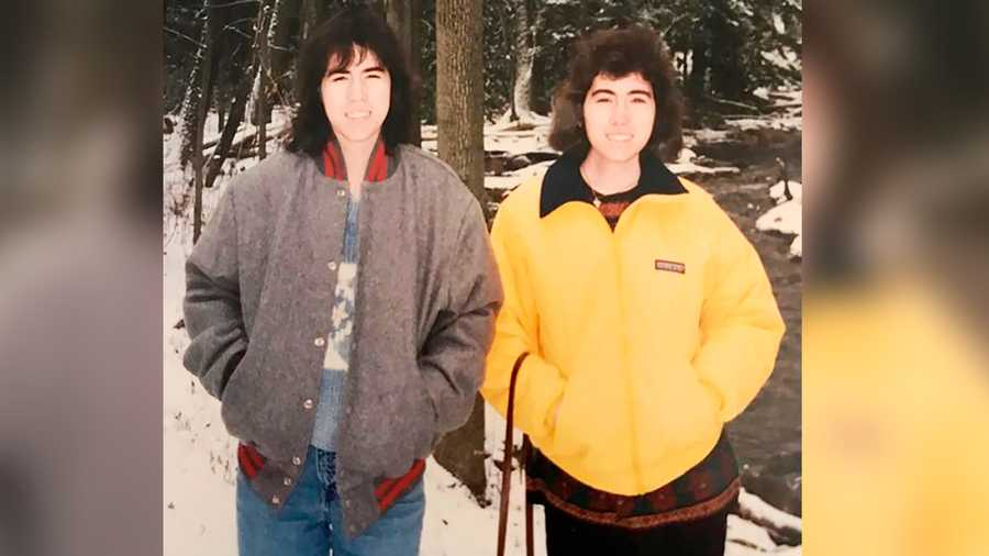 A 1995 photo of twins Leslie (left) and Katrina Schaller in Greensburg.