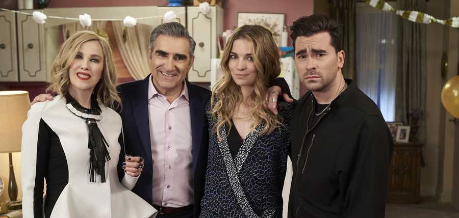 "Catherine O'Hara, Eugene Levy, Annie Murphy and Daniel Levy are seen in ""Schitt's Creek.'"""