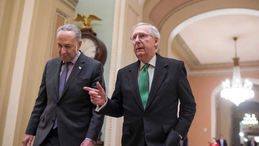 File: Senate Majority Leader Mitch McConnell, R-Ky., right, and Senate Minority Leader Charles Schumer, D-N.Y.