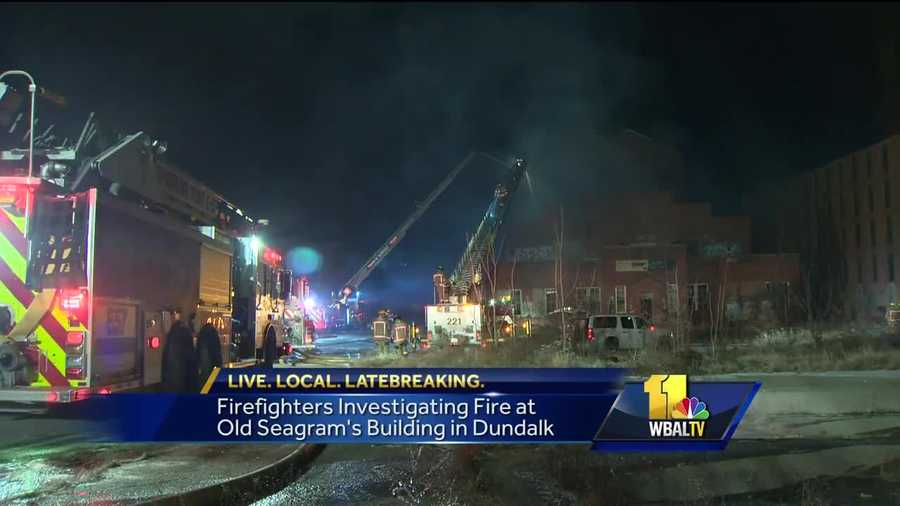 Baltimore county investigators are looking into the cause of a fire at the old Seagram's warehouse in Dundalk.