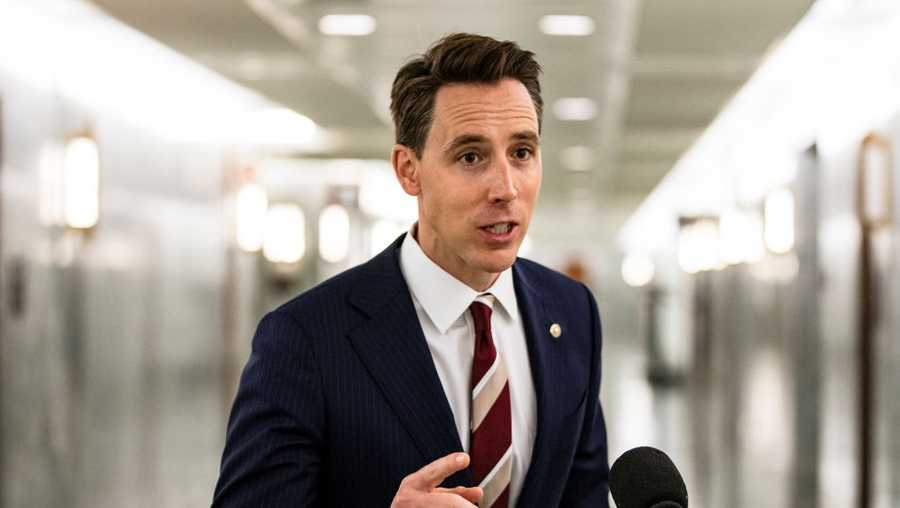 Senator Josh Hawley (R-MO) makes a statement after voting in the Judiciary Committee to move the nomination of Judge Amy Coney Barrett to the Supreme Court out of committee and on to the Senate for a full vote on Oct. 22, 2020 in Washington. Judge Amy Coney Barrett was nominated by President Donald Trump to fill the vacancy left by Justice Ruth Bader Ginsburg who passed away in September. (Photo by Samuel Corum/Getty Images)