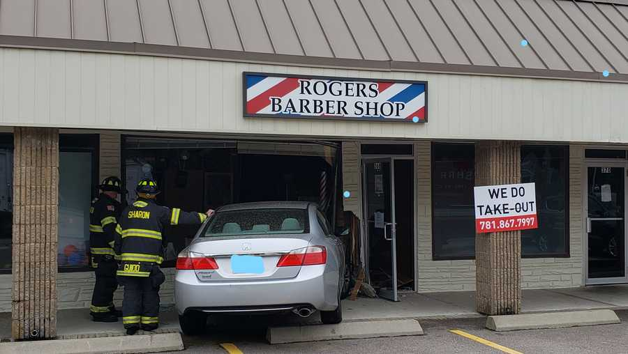 Car crashes into Rogers Barber Shop in Sharon