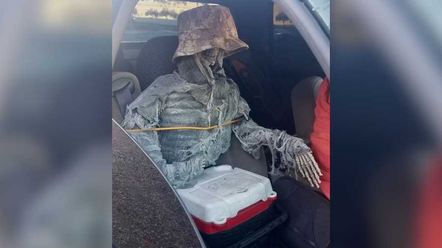 Authorities in Arizona pulled over a 62-year-old driver with this skeleton passenger on Thursday.