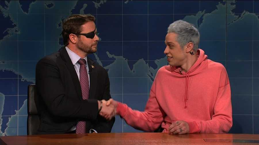 "Congressman-elect Dan Crenshaw appears on ""Saturday Night Live"" alongside Pete Davidson."