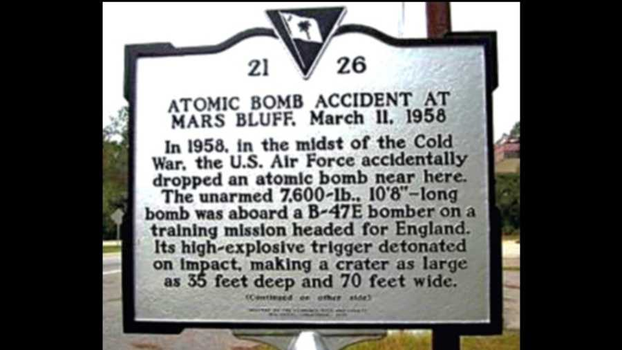 Historic marker for the Mars Bluff bomb drop.