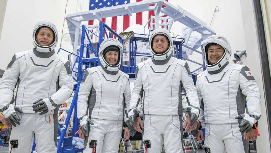This undated photo made available by SpaceX in April 2021 shows the crew for its third astronaut launch to the International Space Station, during a training session at the SpaceX training facility in Hawthorne, Calif.
