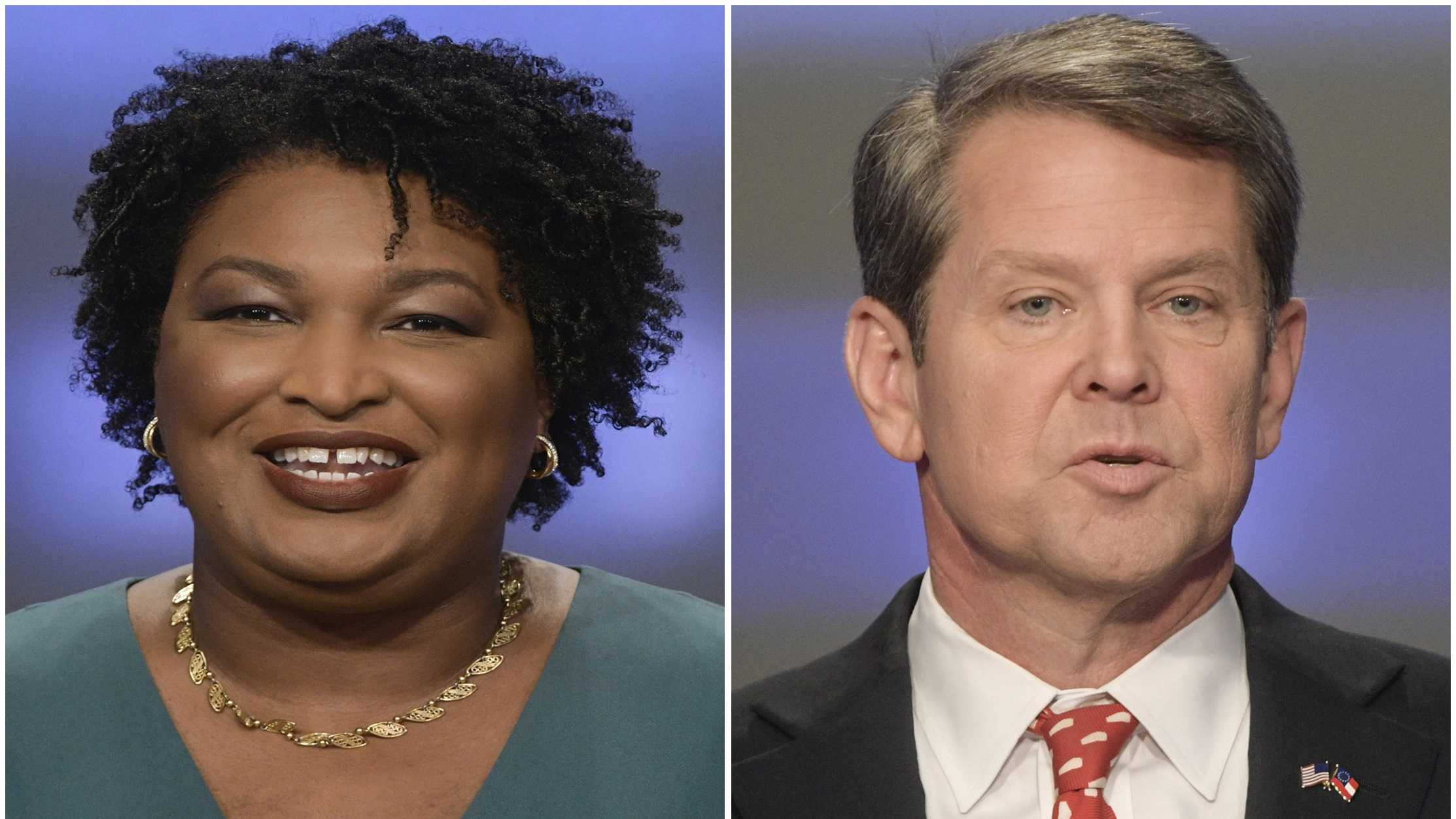 Stacey Abrams, left, and Brian Kemp, right.  (AP Photos/John Amis, File)