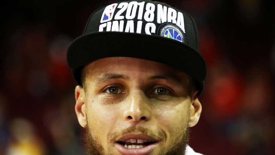 Stephen Curry of the Golden State Warriors celebrates after they defeated the Houston Rockets 101 to 92 in Game Seven of the Western Conference Finals of the 2018 NBA Playoffs at Toyota Center on May 28, 2018 in Houston, Texas