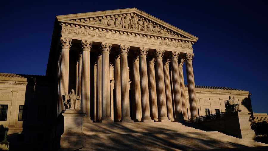 The Supreme Court is seen at sundown on the eve of Election Day 2020 in Washington.
