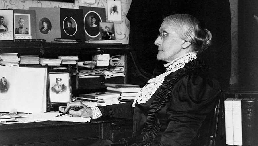 Portrait of Susan B. Anthony (1820-1906) seated at a desk. Anthony was a leader in the abolitionist and women's suffrage movements.