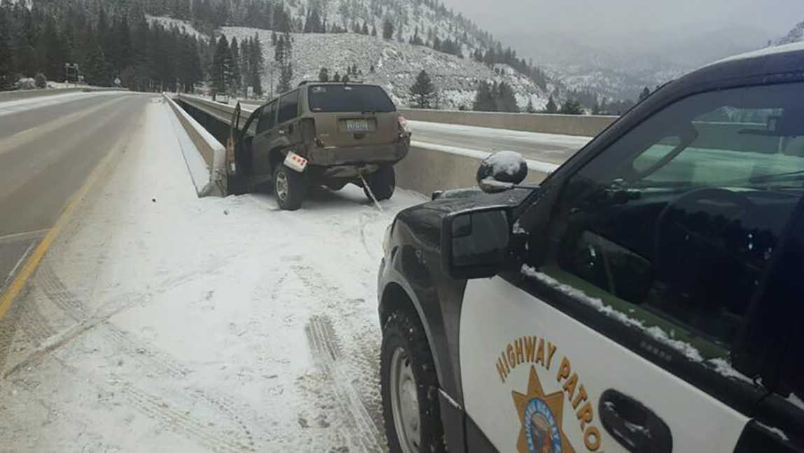 CHP pulls SUV to safety after getting stuck between 2 bridges Dec. 24, 2016
