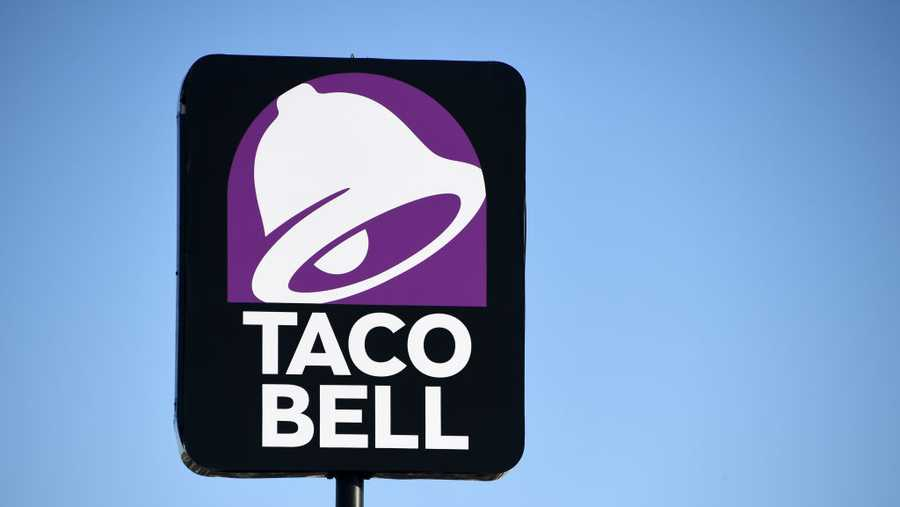 An exterior view shows a sign at a Taco Bell restaurant on March 30, 2020 in Las Vegas.