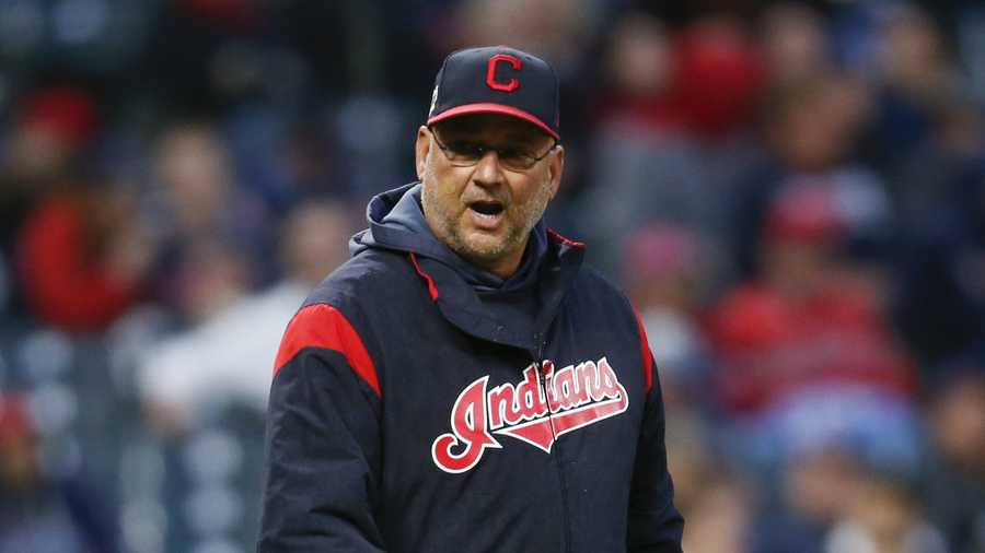 Manager Terry Francona #77 of the Cleveland Indians walks to the mound against the Oakland Athletics during the seventh inning at Progressive Field on May 20, 2019 in Cleveland, Ohio.
