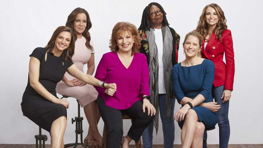 From left: Paula Faris, Sunny Hostin, Joy Behar, Whoopi Goldberg, Sara Haines and Jedediah Bila