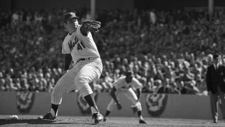 10/15/1969—Tom Seaver, NY Mets, pitching during the 4th game of the World Series.