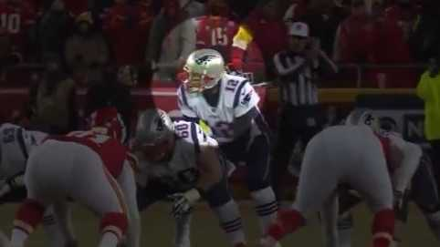Video shot by a KMBC 9 News photojournalist shows someone shining a green laser in Tom Brady's face during the AFC Championship game.
