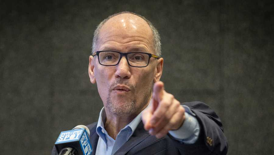 In this Nov. 20, 2019 file photo, Tom Perez, chair of the Democratic National Committee, addresses the audience during a speech in Atlanta.