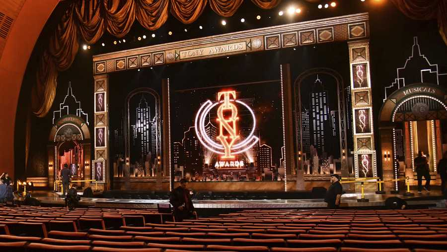 This June 9, 2019 photo shows a view of the stage prior to the start of the 73rd annual Tony Awards in New York.