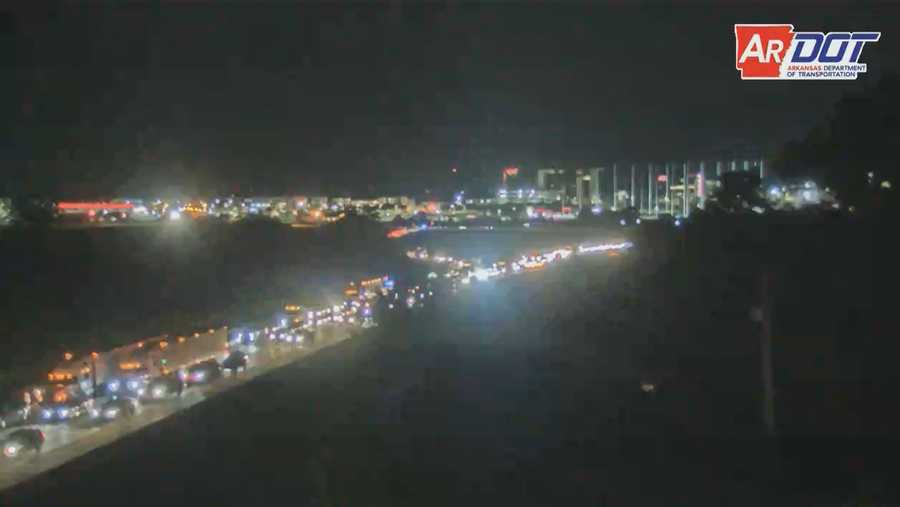 Traffic on Interstate 49 Monday night in Rogers