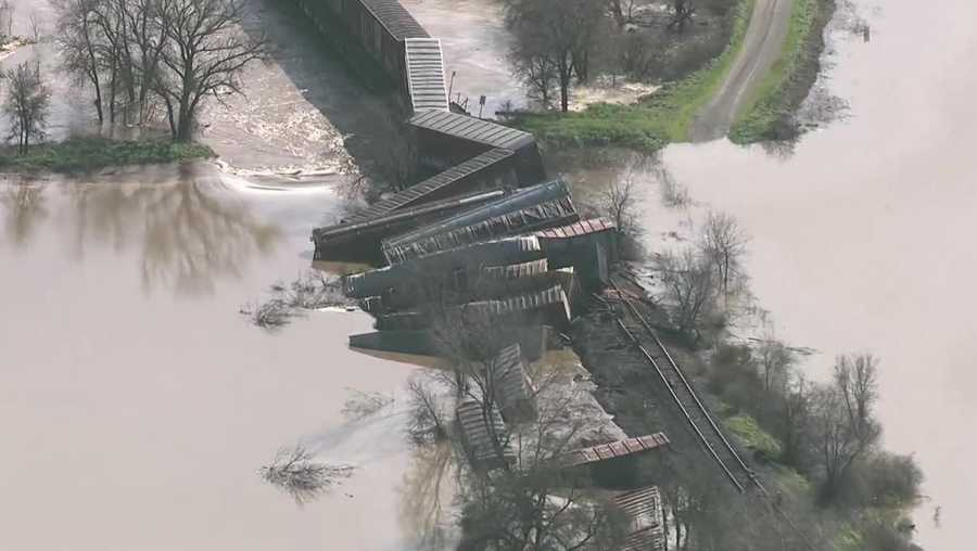 Twenty-two rail cars derailed on Friday, Feb. 10, 2017, in Elk Grove