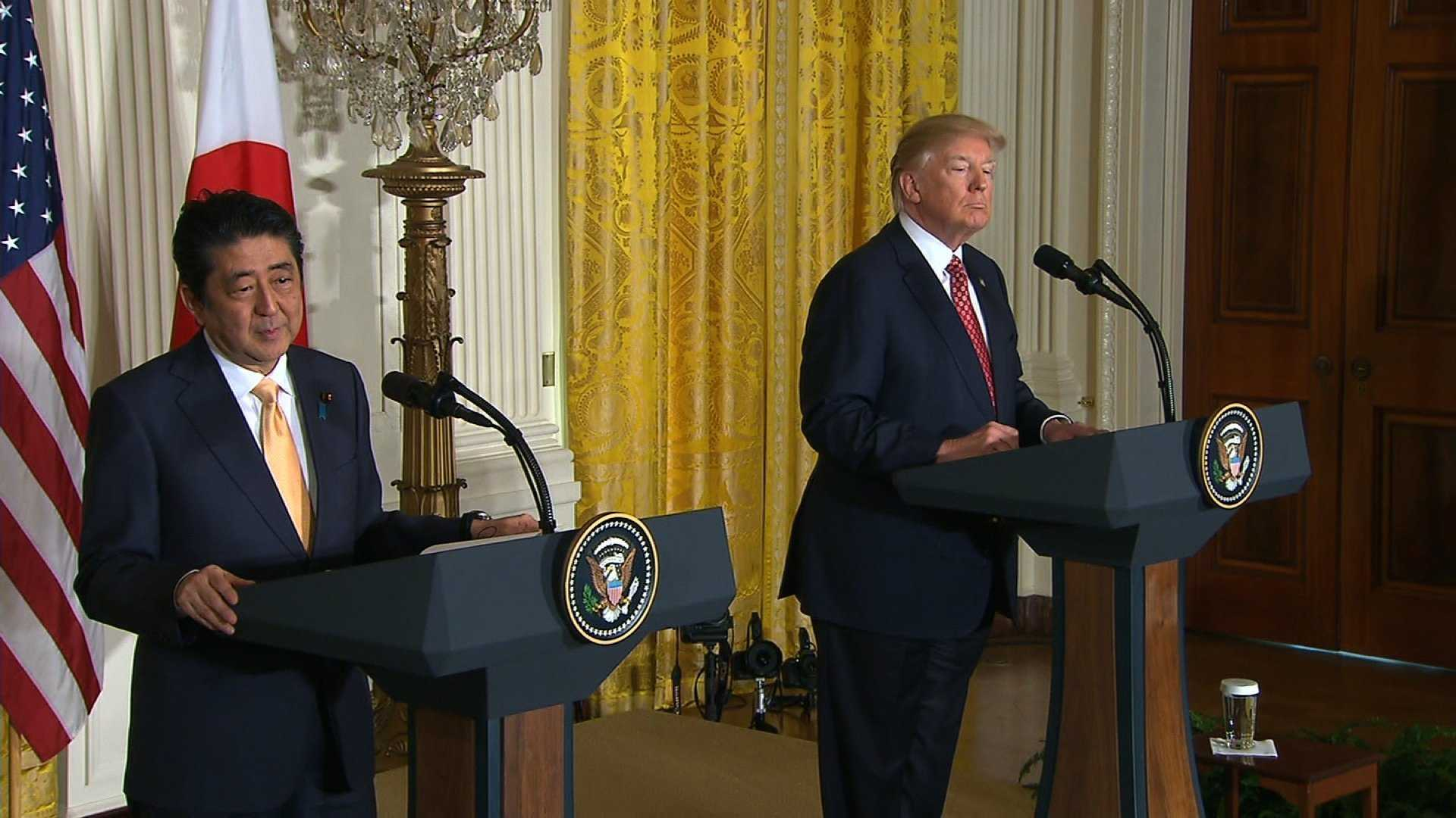 ​President Donald Trump and Japanese Prime Minister Shinzo Abe hold a joint press conference Friday, Feb. 10, 2017.