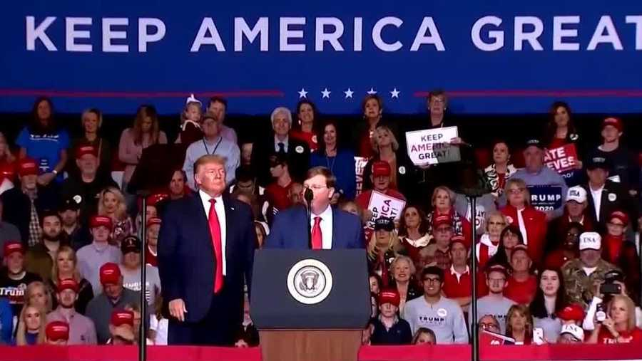 Gov. Tate Reeves and President Donald Trump at a rally