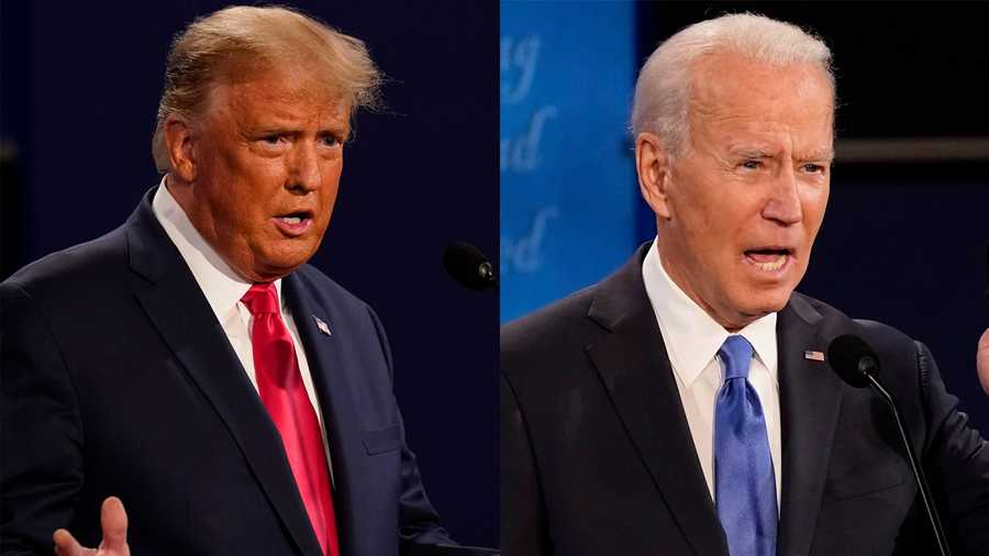 Donald Trump and Joe Biden are shown at the last presidential debate.