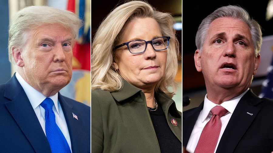 Former President Donald Trump targets Rep. Liz Cheney as he unites with Kevin McCarthy at his Palm Beach resort Mar-a-Lago on Thursday.
