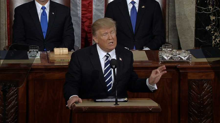 President Donald Trump delivers his first speech to Congress on February 28, 2017.