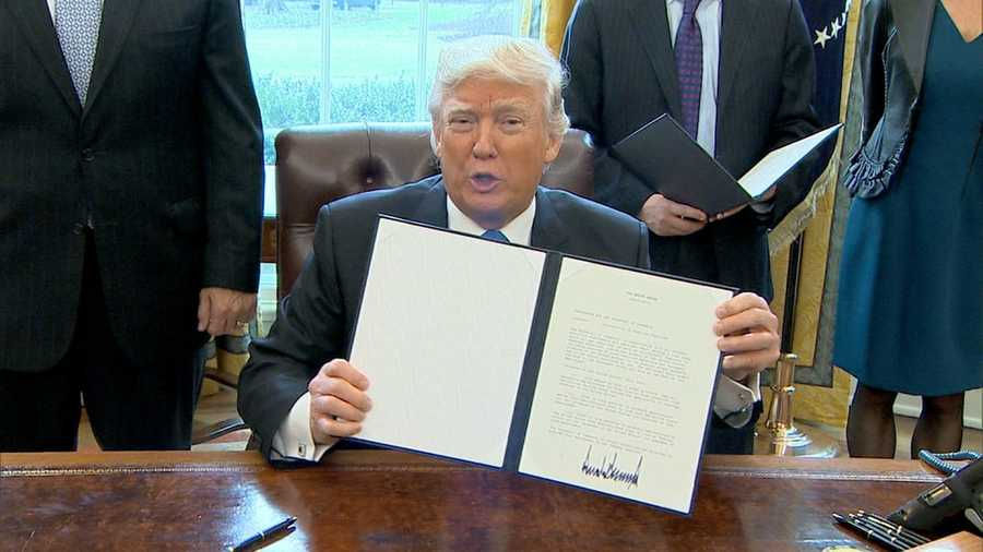 President Donald Trump signed executive actions to advance approval of the Keystone XL and Dakota Access oil pipelines, he announced from the White House on Tuesday, Jan. 24, 2017.