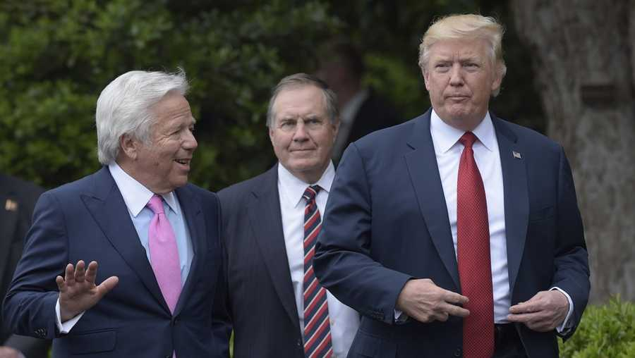 President Donald Trump talks with New England Patriots owner Robert Kraft, left, followed by head coach Bill Belichick as they arrive for a ceremony on the South Lawn of the White House in Washington, Wednesday, April 19, 2017, where the president honored the Super Bowl Champion New England Patriots for their Super Bowl LI victory.