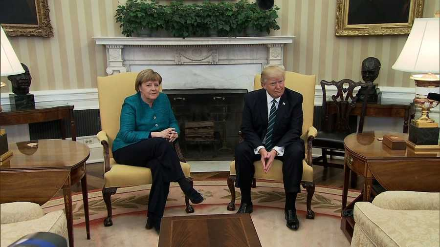 President Donald Trump hosted German Chancellor Angela Merkel at the White House on March 17, 2017.
