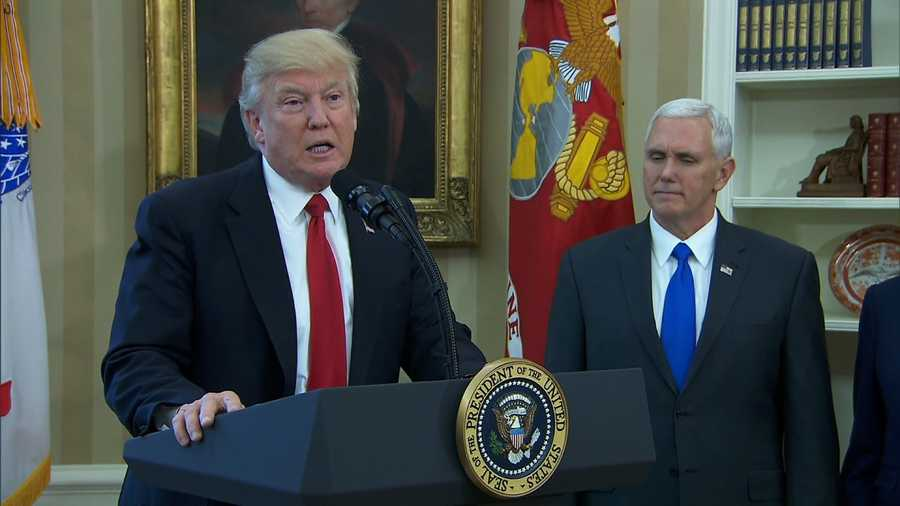 President Donald Trump with Vice President Mike Pence on March 31, 2017.