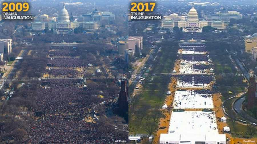 This pair of photos shows a view of the crowd on the National Mall at the inaugurations of President Barack Obama, left, on Jan. 20, 2009, and President Donald Trump, right, on Jan. 20, 2017. The photo on the left and the screengrab from video on the right were both shot shortly before noon from the top of the Washington Monument.