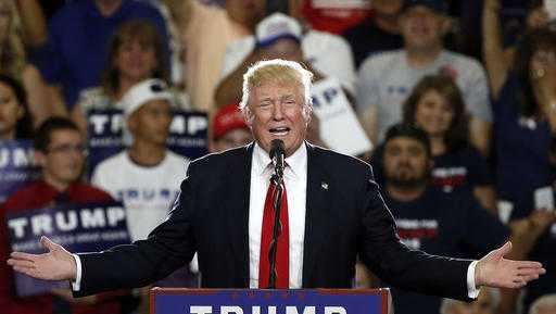 In this May 24, 2016 file photo, Republican presidential candidate Donald Trump speaks at a campaign event in Albuquerque, N.M.
