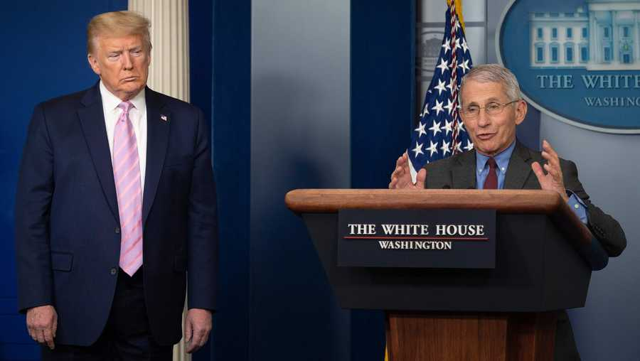 President Donald Trump listens as Director of the National Institute of Allergy and Infectious Diseases Dr. Anthony Fauci speaks during the daily briefing on the novel coronavirus, which causes COVID-19, in the Brady Briefing Room at the White House on April 10, 2020, in Washington, DC.