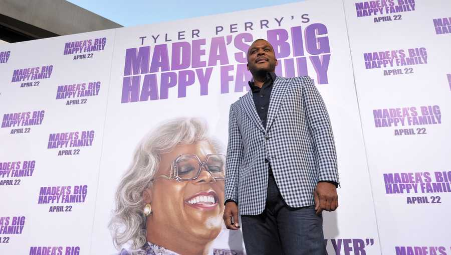 Tyler Perry arrives to 'Tyler Perry's Madea's Big Happy Family' Los Angeles Premiere at The Dome at Arclight Hollywood on April 19, 2011 in Hollywood, California.